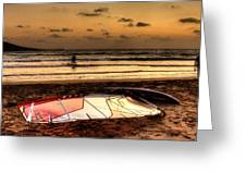 Prasonisi - A Day Of Windsurfing Is Over Greeting Card