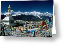 Prayer Flags In The Himalayan Mountains Greeting Card