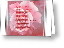 Prayer Of St. Francis And Pink Rose 2 Greeting Card