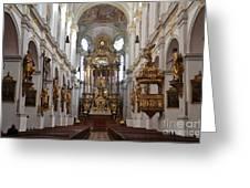Praying At Munich Church Germany Greeting Card