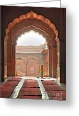 Praying At The Jama Masjid Mosque - Old Delhi Greeting Card