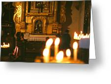 Praying By Candlelight Greeting Card