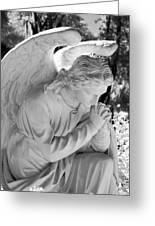 Praying Male Angel Near Infrared Black And White Greeting Card