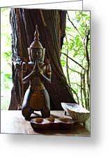 Praying Statue - Panviman Chiang Mai Spa And Resort - Chiang Mai Thailand - 01131 Greeting Card by DC Photographer