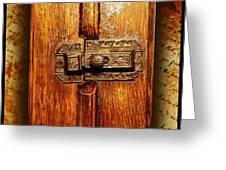 Pre-civil War Bookcase-glass Doors Latch Greeting Card