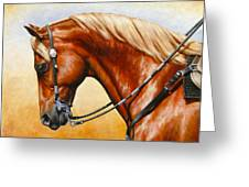 Precision - Horse Painting Greeting Card by Crista Forest