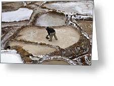 Preincan Salt Mines In Maras Peru Greeting Card