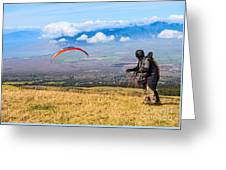 Preparing For Take Off - Paragliders Taking Off High Over Maui. Greeting Card
