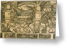 Presentation Drawing Of The Automotive Panel For The North Wall Of The Detroit Industry Mural Greeting Card