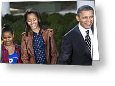 President Obama And Daughters Greeting Card