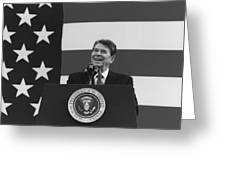 President Reagan American Flag  Greeting Card
