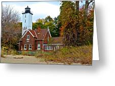 Presque Isle Lighthouse Greeting Card by Frozen in Time Fine Art Photography