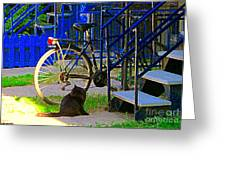 Pretty Cat In Verdun Taking The Sun Blue Picket Fence And Bike Montreal Garden Scene Carole Spandau  Greeting Card