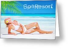 Pretty Female Tanning On The Beach Greeting Card