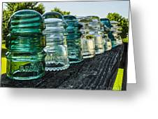 Pretty Glass Insulators All In A Row Greeting Card by Deborah Smolinske