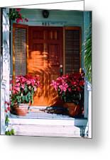 Pretty House Door In Key West Greeting Card