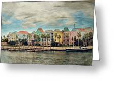 Pretty Houses All In A Row Nassau Greeting Card by Kathy Jennings