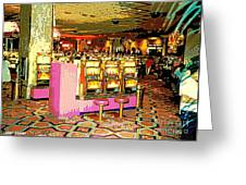 Pretty In Pink Bar Stools And Slots Reserved For Spring Break High Rollers   Greeting Card