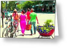 Pretty Pink Summer Dress Sunny Stroll Licari St Denis Scene Montreal Bike Racks And Flowers Cspandau Greeting Card