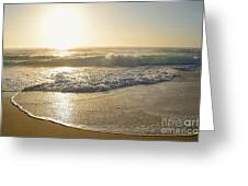 Pretty Waves At Glowing Sunrise By Kaye Menner Greeting Card