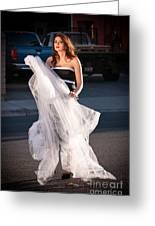 Pretty Woman With Gun Behind The Veil Greeting Card