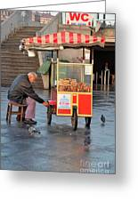 Pretzel Seller With Pushcart Istanbul Turkey Greeting Card