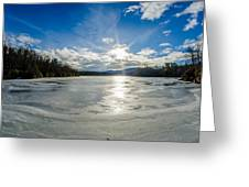 Price Lake Frozen Over During Winter Months In North Carolina Greeting Card