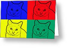 Primary And Green Cats Greeting Card