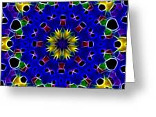 Primary Colors Fractal Kaleidoscope Greeting Card