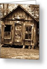 Primative Post Office Cabin In Sepia Greeting Card