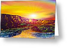 Rainbow Dawn Over Primeval Tide  Life Begins V3 Greeting Card