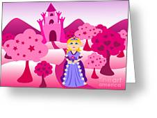 Princess And Pink Castle Landscape Greeting Card