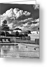 Pristine Pool Bw Marrakesh Palm Springs Greeting Card