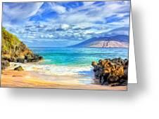 Private Beach At Wailea Maui Greeting Card