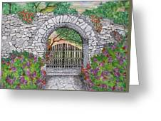 Private Garden At Sunset Greeting Card