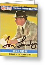 Pro Football Coach Tom Landry Greeting Card