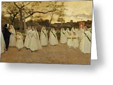 Procession Of Schoolgirls Greeting Card