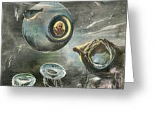 Professor Beebe In His  Bathysphere Greeting Card