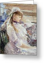 Profile Of A Seated Young Woman Greeting Card
