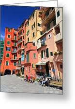 promenade and homes in Camogli Greeting Card