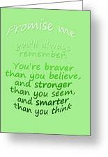 Promise Me - Winnie The Pooh - Green Greeting Card