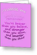 Promise Me - Winnie The Pooh - Pink Greeting Card