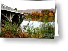 Prosser Bridge And Fall Colors On The River Greeting Card