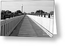 Prosser Bridge Perspective - Black And White Greeting Card
