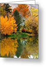 Prosser - Fall Reflection With Hills Greeting Card