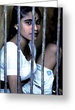 Prostitute In Cage Greeting Card