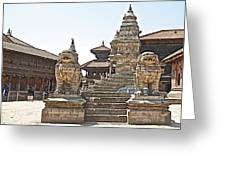 Protector Sculptures Near The Boundary Of Bhaktapur Durbar Square In Bhaktapur-nepal Greeting Card