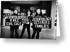 protesters outside a church of scientology Vancouver BC Canada Greeting Card by Joe Fox