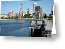 Providence Skyline And Riverfront Greeting Card
