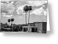 Ps City Hall Front Bw Palm Springs Greeting Card